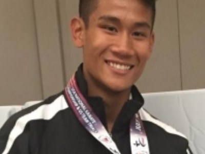 Quiroz competes in an international WKF competition