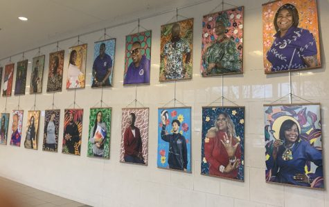 The front lobby hosts this year's Black History Month art installation in celebration of our staff.  The inspiration for this portrait series is the work of Nigerian-American Painter, Kehinde Wiley.