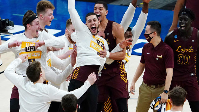 (photo courtesy of CBB sports)  Local Chicago team Loyola University celebrating their advancement into the Sweet 16