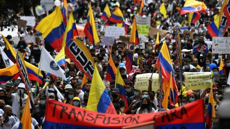 citizens take the streets in Colombia forming a protest